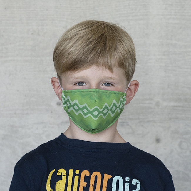 Gesichtsmaske Kinder Batik ZickZack grün